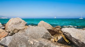 Bord de mer à Badalona Images libres de droits