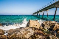 Bord de mer à Badalona Image libre de droits