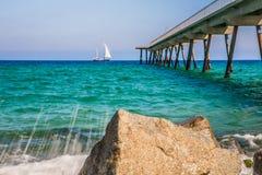 Bord de mer à Badalona Photos libres de droits