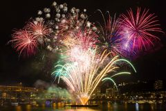 Bord de mer 4ème de Portland des feux d'artifice de juillet Image libre de droits
