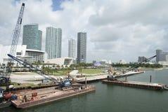 Bord de mer de construction à Miami images stock