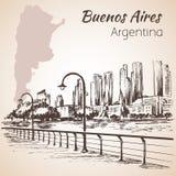 Bord de mer de paysage urbain de Buenos Aires l'argentine croquis illustration libre de droits