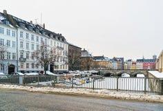 Bord de mer et ponts à Copenhague du Danemark en hiver Image stock