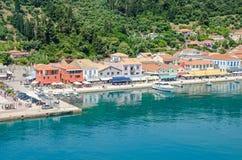Bord de mer et promenade de Katakolo en Grèce Images libres de droits