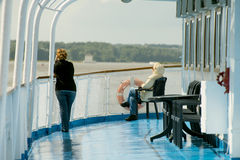 À bord du bateau de croisière de fleuve Photos stock