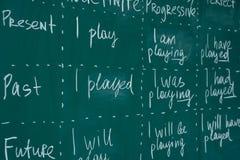 Bord in een Engelse klasse Les, lezing, die het leren vreemde taal bestuderen stock afbeelding