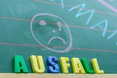 Bord in een school voor wat betreft klassenmislukking met het Duitse woord voor mislukking royalty-vrije stock foto