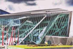 The Bord Gais Theare futuristic architecture in Dublin Docklands Stock Photo