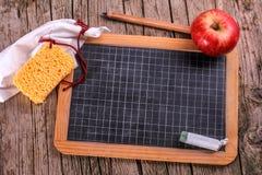 Bord met appel en spons Royalty-vrije Stock Foto