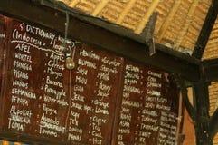 Bord met Balinees-Engelse vertaling Royalty-vrije Stock Foto's