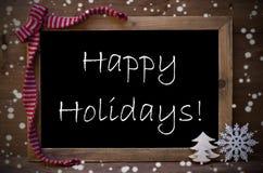 Bord met de Gelukkige Vakantie van de Kerstmisdecoratie, Sneeuwvlokken Royalty-vrije Stock Afbeelding
