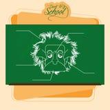 Bord met een Tekening van Albert Einstein royalty-vrije illustratie