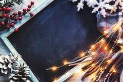 Bord met sommige Kerstmisdecoratie royalty-vrije stock foto's