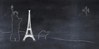 bord met tekeningen, toerismeconcept royalty-vrije illustratie
