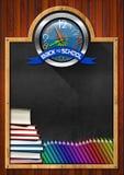 Bord met terug naar Schoolklok vector illustratie