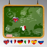 Bord van Europese talen Stock Afbeelding