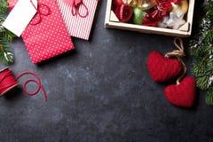Bord voor uw Kerstmistekst Kerstmisgift het Verpakken Stock Afbeelding