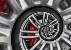Borda abstrata da roda da espiral do carro desportivo com pneu, disco do freio Ilustração repetitiva do fundo do teste padrão do  imagens de stock royalty free