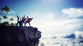 Borda Cliff Achievement Success Concept dos super-herói do negócio Fotografia de Stock