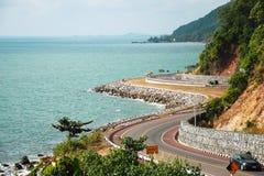 Borda da estrada do chonlathit do burapha de Chaloem o mar em Chantaburi Tailândia Imagens de Stock