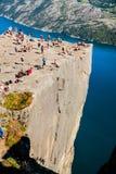 Borda da rocha do púlpito, Noruega Fotografia de Stock