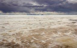Borda do mundo, planos Salar De Uyuni Bolivia de sal Imagens de Stock
