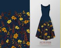 Borda sem emenda Beira com ervas e as flores selvagens, folhas Ilustração colorida da ilustração botânica no modelo do vestido ilustração royalty free