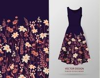 Borda sem emenda Beira com ervas e as flores selvagens, folhas Ilustração colorida da ilustração botânica no modelo do vestido ilustração do vetor