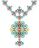 Bordado étnico del collar del vector para las mujeres de la moda Diseño tribal de la impresión del modelo del pixel stock de ilustración