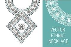 Bordado étnico del collar del vector para las mujeres de la moda Foto de archivo libre de regalías