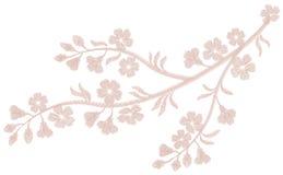 Bordado beige rosa claro delicado de la flor Impresión de la materia textil de la moda de la flor de cerezo de Sakura Remiendo ad Fotografía de archivo libre de regalías