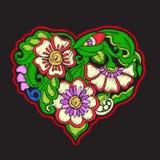 Bordado con el corazón modelado del amor en fondo negro Foto de archivo libre de regalías