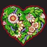 Bordado con el corazón modelado del amor en fondo negro Imagenes de archivo