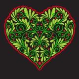 Bordado con el corazón modelado del amor en fondo negro Fotografía de archivo libre de regalías