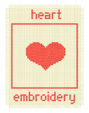 Bordado con el corazón y el marco Fotografía de archivo