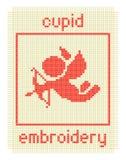 Bordado con el cupid y el marco Fotografía de archivo libre de regalías