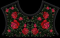 Bordado de flores de la moda ilustración del vector