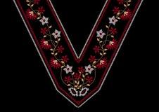 Bordado de flores del cuello para la ropa ilustración del vector