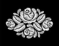 Bordado de las rosas blancas en fondo negro la línea étnica gráficos del cuello de las flores del diseño floral forma llevar libre illustration