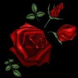 Bordado de las rosas rojas Imagen de archivo