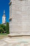 Bordado de piedra hermoso en la iglesia externa del monasterio Fotos de archivo