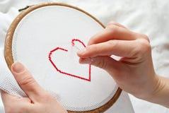 Bordado del corazón Fotografía de archivo