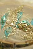 Bordado del hilo del oro en Tambour Fotos de archivo libres de regalías