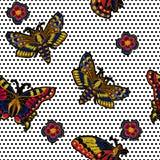 Bordado del vector de la mariposa para el diseño de la materia textil libre illustration