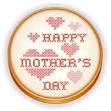 Bordado do ponto da cruz do dia de mães, aro de madeira retro Imagem de Stock Royalty Free