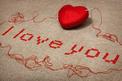 Bordado do Valentim eu te amo Imagem de Stock Royalty Free