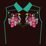 Bordado hermoso de las flores para los elementos del diseño de la materia textil stock de ilustración