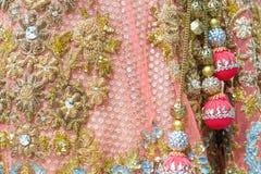 Bordado indio en el vestido Foto de archivo libre de regalías