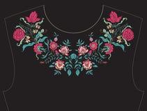 Bordado para el escote, cuello para la camiseta, blusa, camisa stock de ilustración