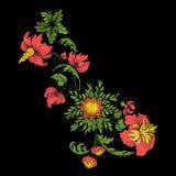 Bordado para la línea del cuello Ornamento floral en estilo del vintage Imágenes de archivo libres de regalías